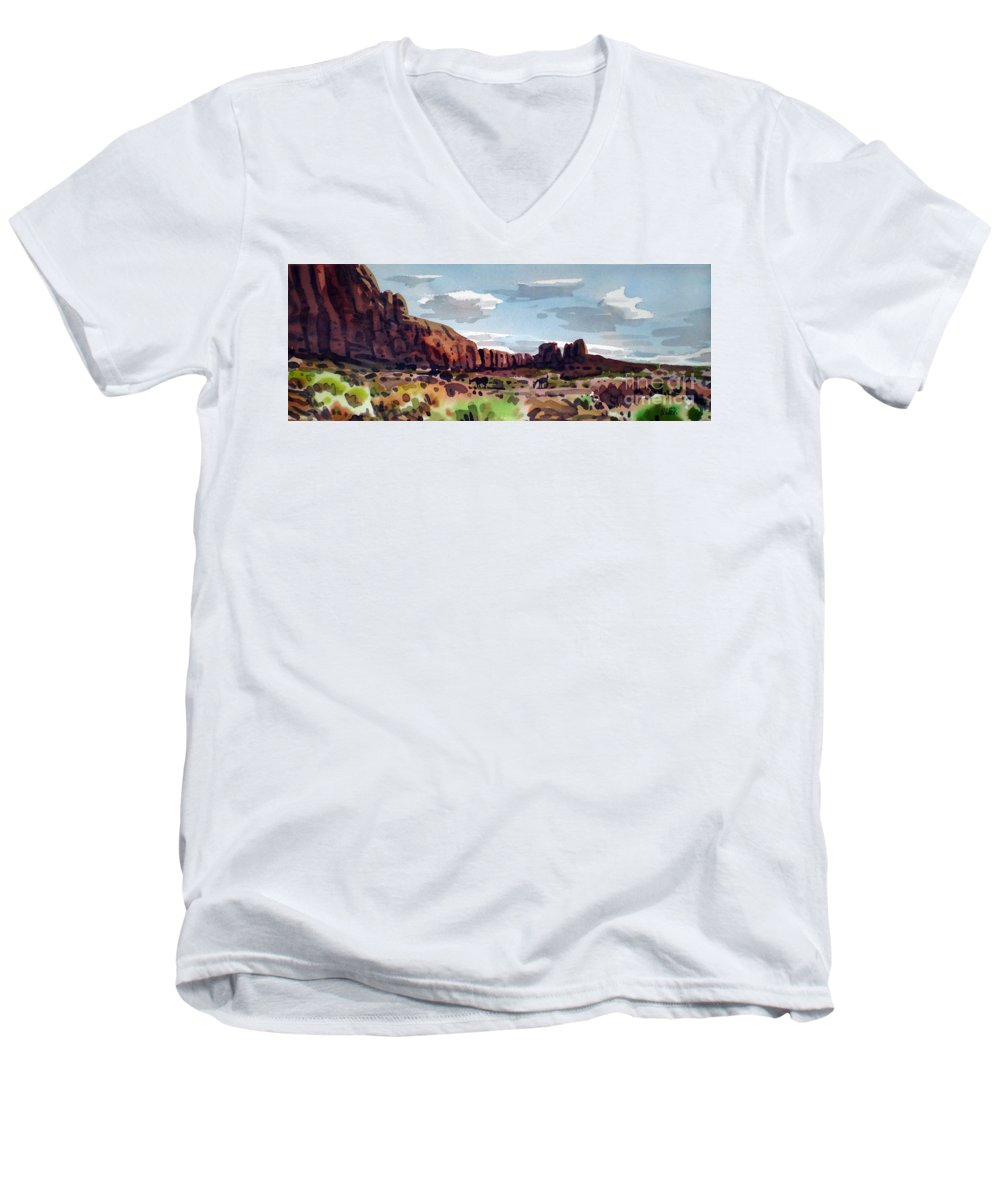 Horses Men's V-Neck T-Shirt featuring the painting Two Mustangs by Donald Maier