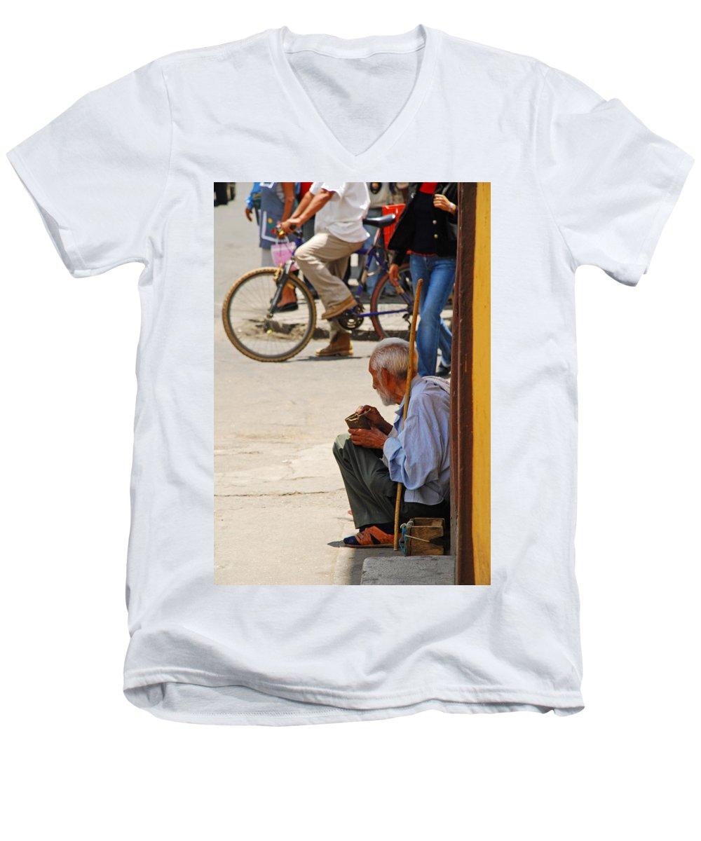 Beggar Men's V-Neck T-Shirt featuring the photograph Un Peso Por Favor by Skip Hunt