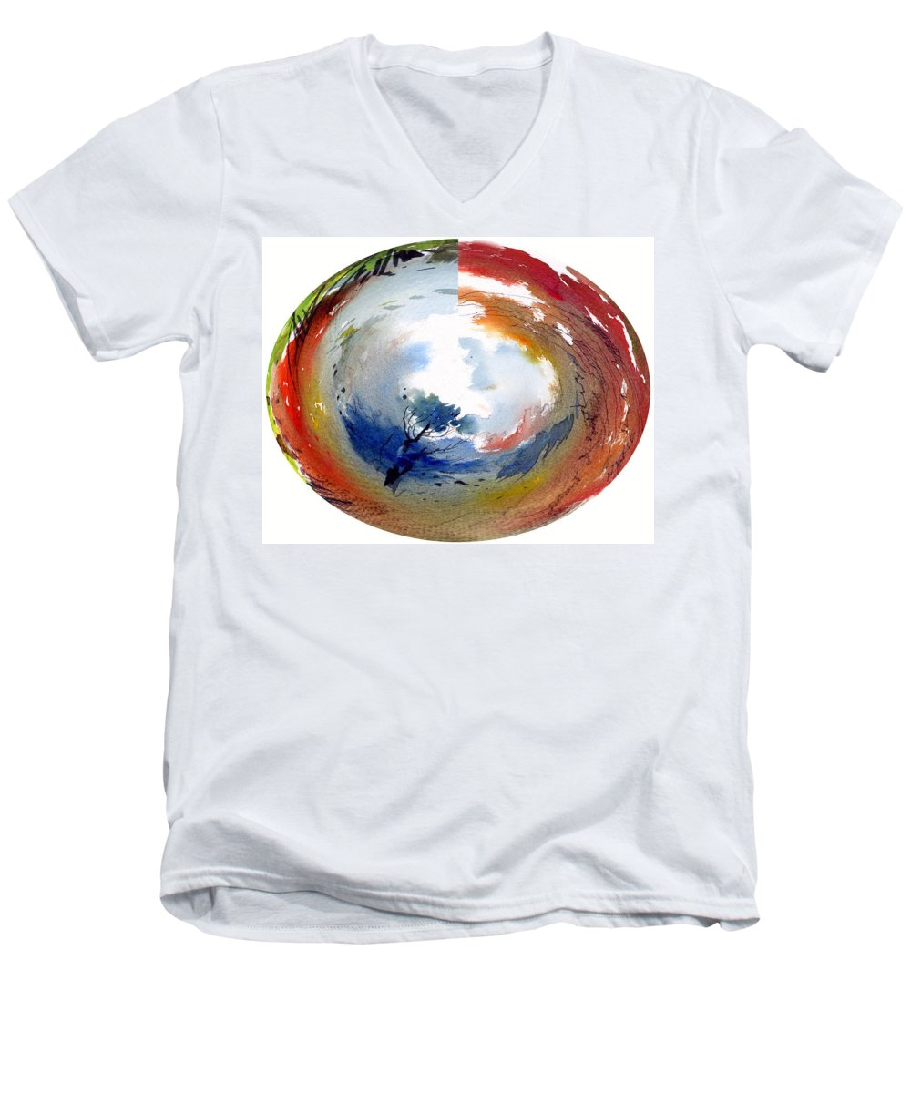 Landscape Water Color Watercolor Digital Mixed Media Men's V-Neck T-Shirt featuring the painting Universe by Anil Nene