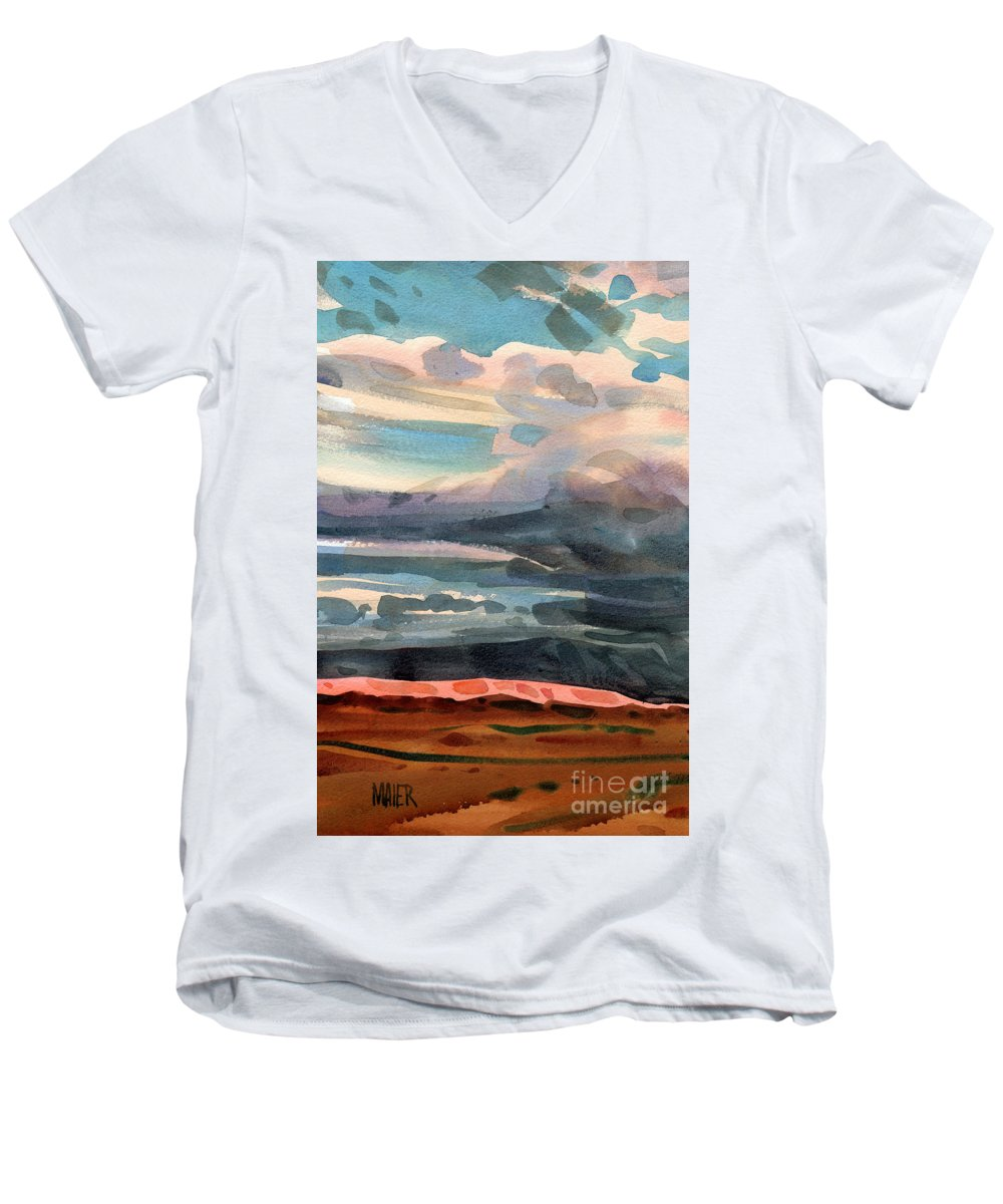 Western Landscape Men's V-Neck T-Shirt featuring the painting Utah Skyline by Donald Maier