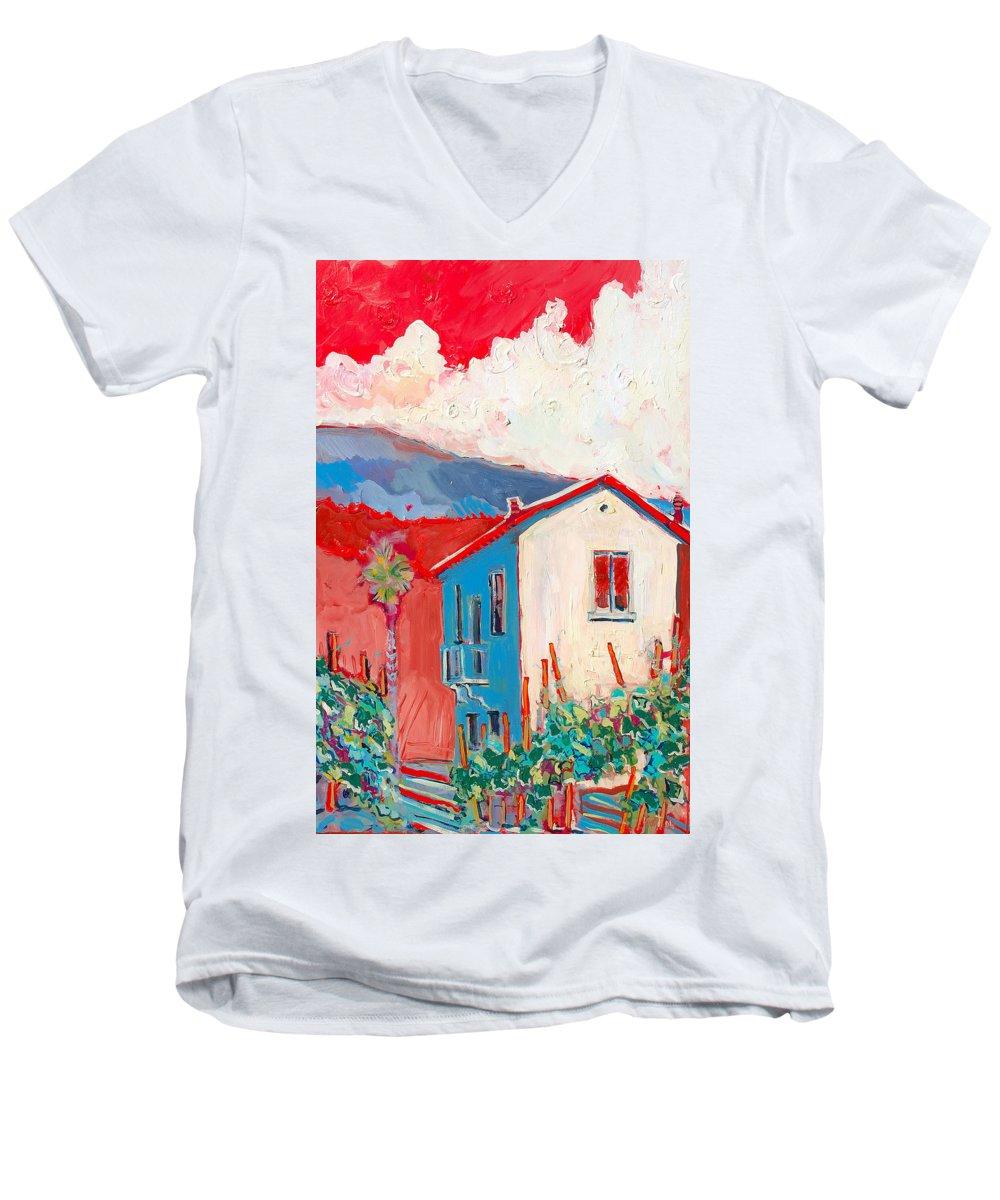 Tuscany Men's V-Neck T-Shirt featuring the painting Vecchio Casa by Kurt Hausmann