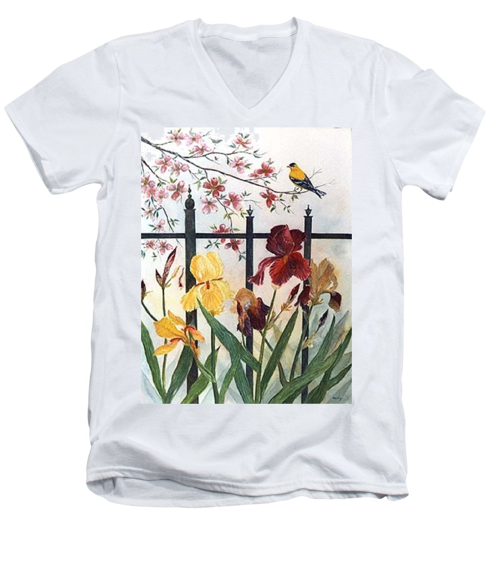 Irises; American Goldfinch; Dogwood Tree Men's V-Neck T-Shirt featuring the painting Victorian Garden by Ben Kiger