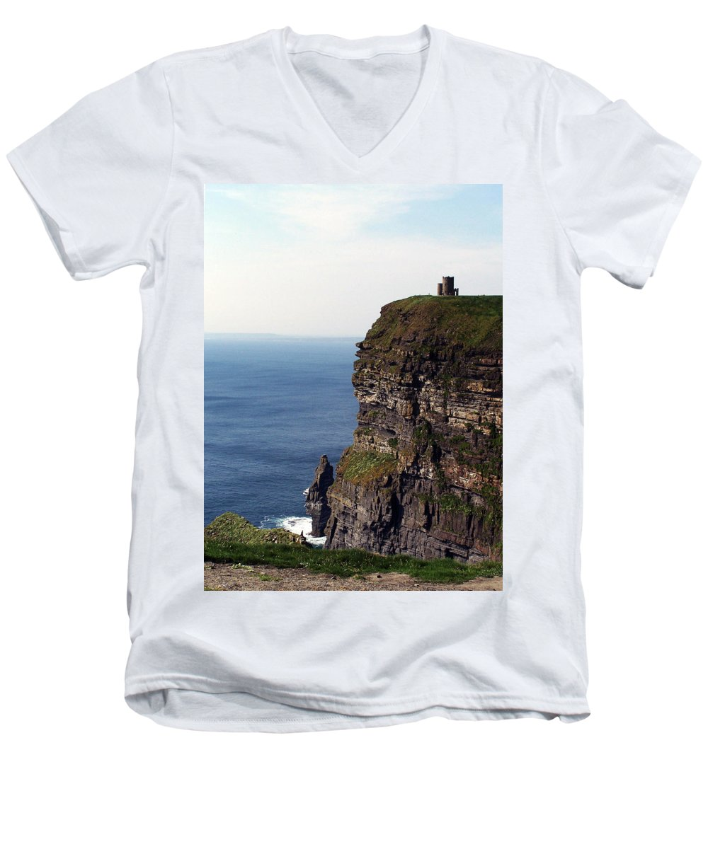 Irish Men's V-Neck T-Shirt featuring the photograph View Of Aran Islands And Cliffs Of Moher County Clare Ireland by Teresa Mucha