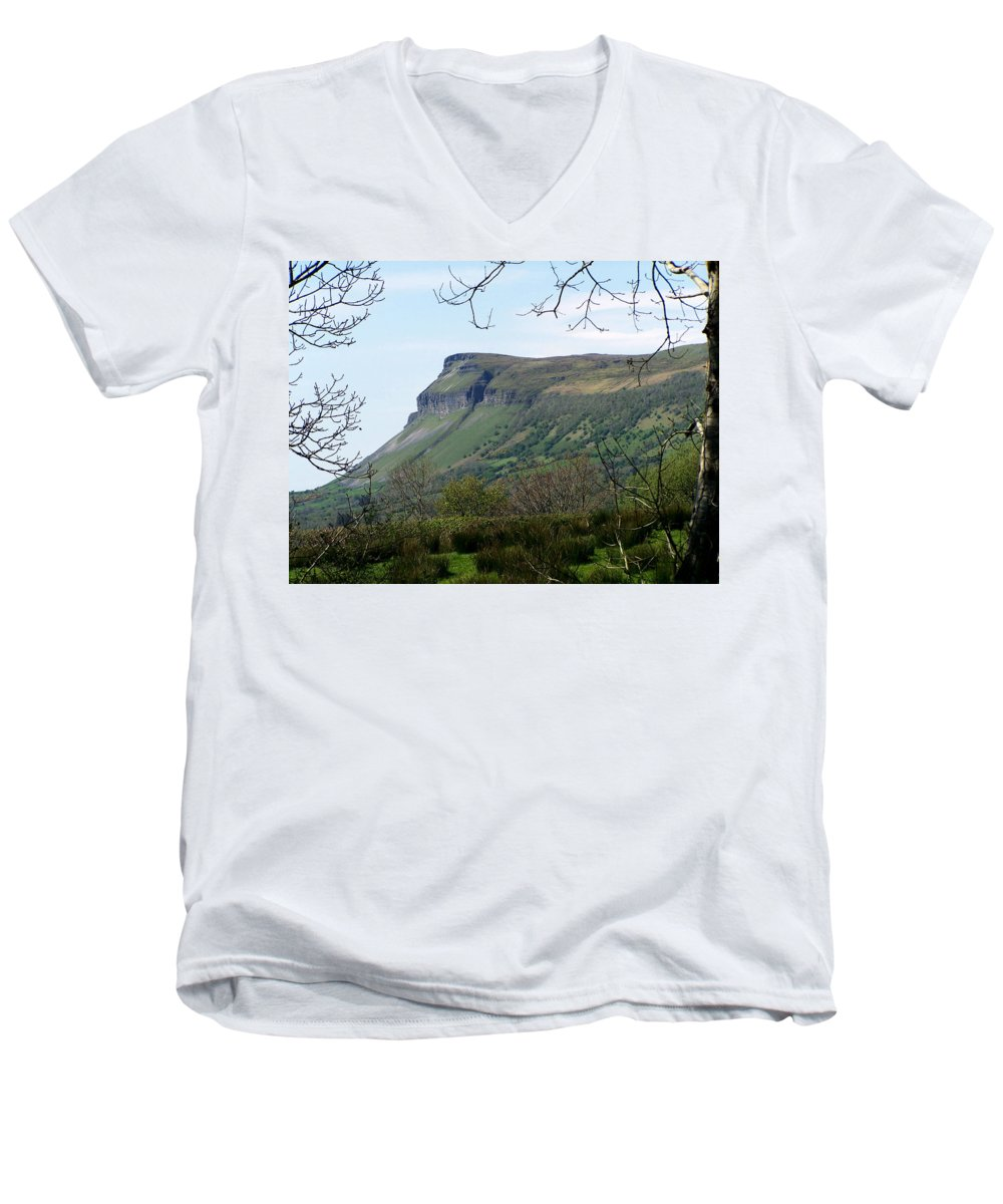 Irish Men's V-Neck T-Shirt featuring the photograph View Of Benbulben From Glencar Lake Ireland by Teresa Mucha