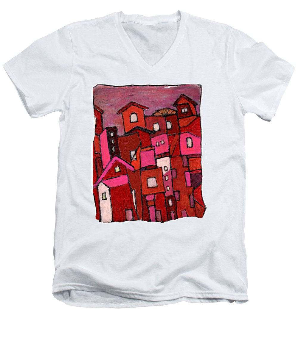 Village Men's V-Neck T-Shirt featuring the painting Village In Pink by Wayne Potrafka