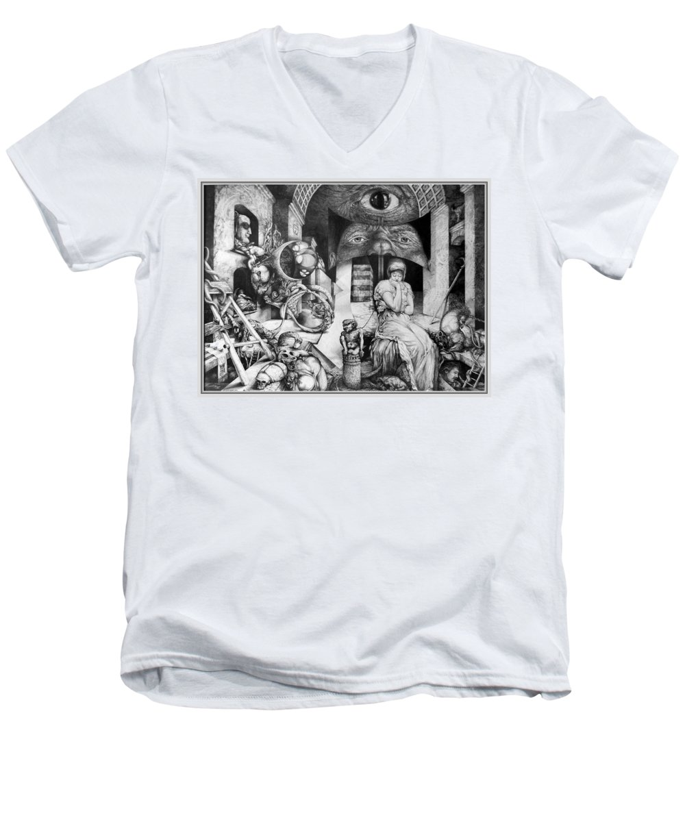 Surrealism Men's V-Neck T-Shirt featuring the drawing Vindobona Altarpiece IIi - Snakes And Ladders by Otto Rapp