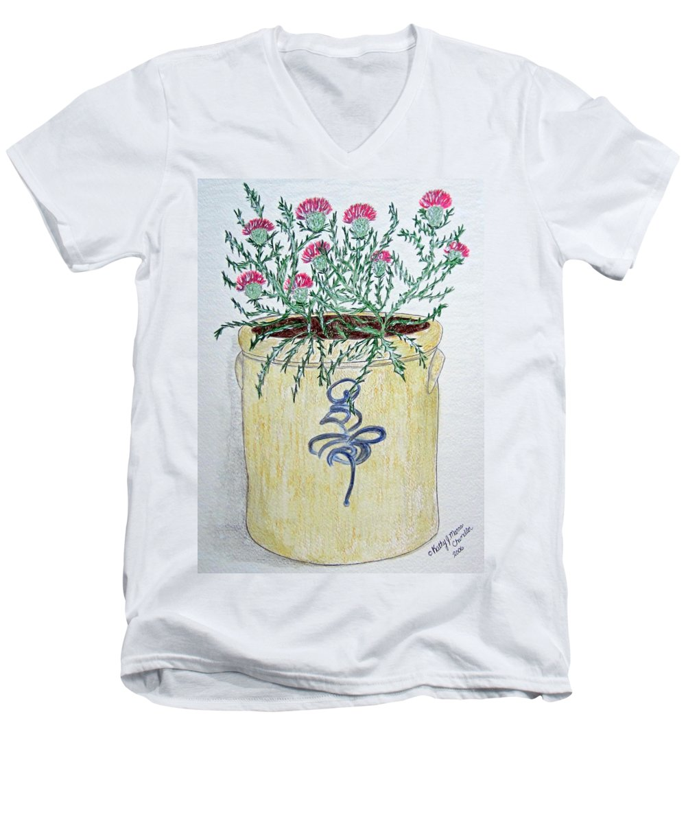 Vintage Men's V-Neck T-Shirt featuring the painting Vintage Bee Sting Crock And Thistles by Kathy Marrs Chandler