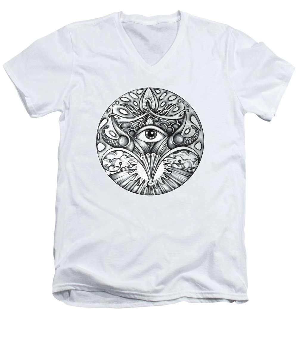 Eye Men's V-Neck T-Shirt featuring the drawing Vision by Shadia Derbyshire