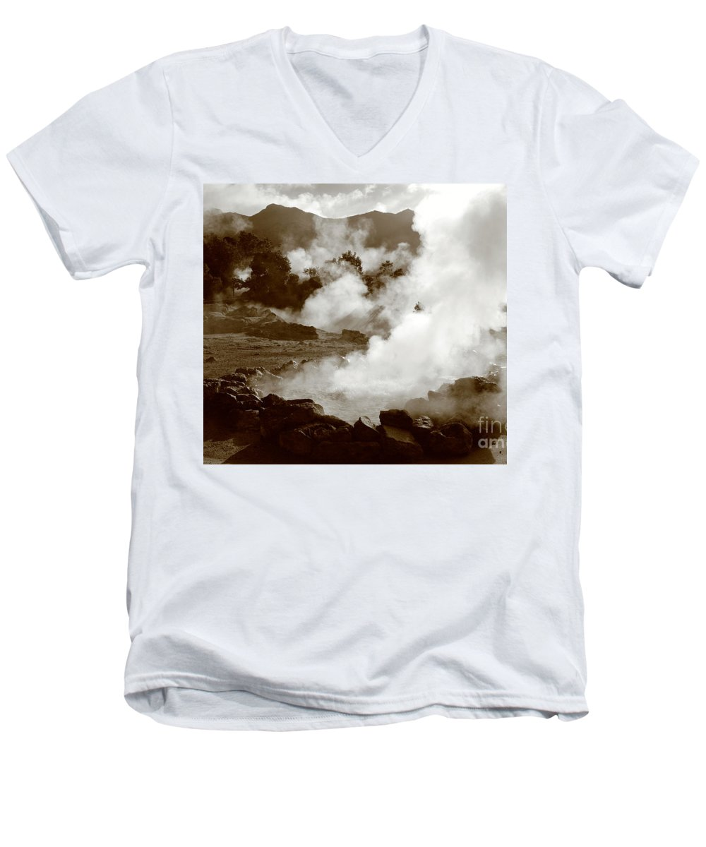 Azores Men's V-Neck T-Shirt featuring the photograph Volcanic Steam by Gaspar Avila