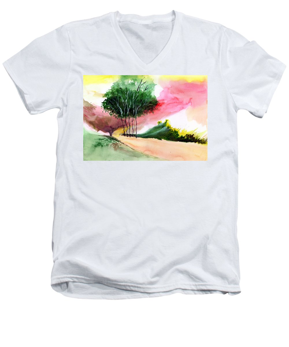 Watercolor Men's V-Neck T-Shirt featuring the painting Walk Away by Anil Nene