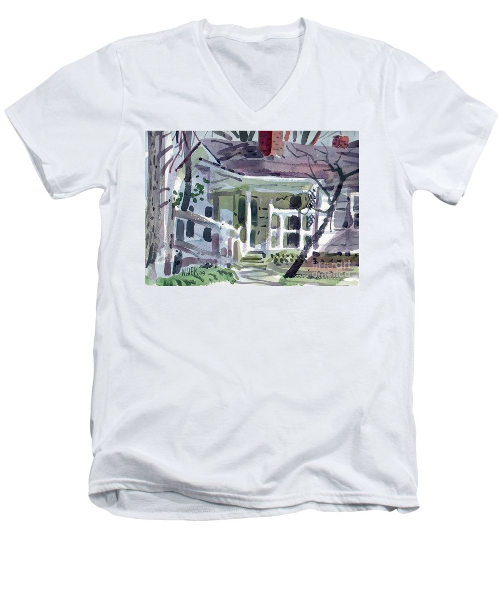 Wallis House Men's V-Neck T-Shirt featuring the painting Wallis House by Donald Maier