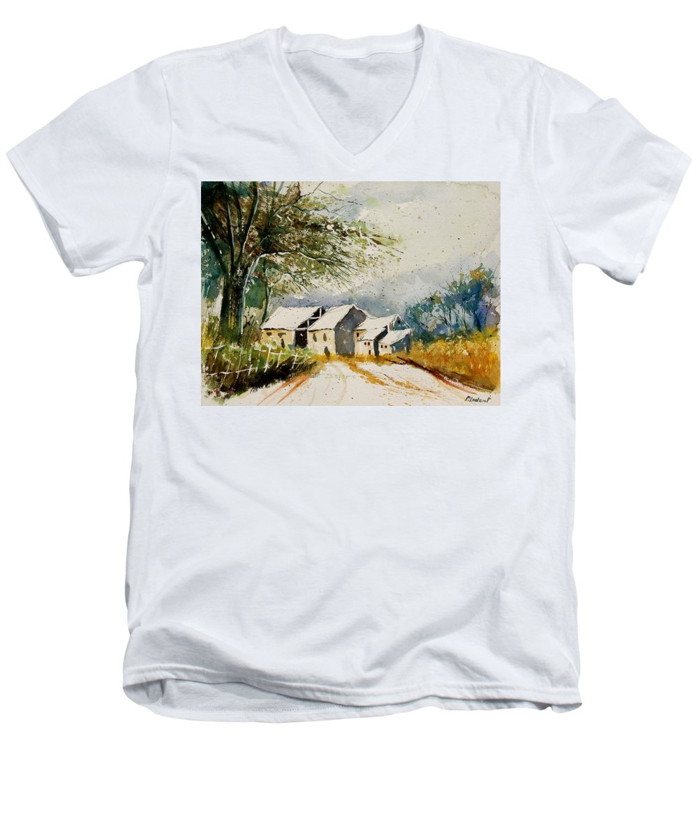 Landscape Men's V-Neck T-Shirt featuring the painting Watercolor 010708 by Pol Ledent