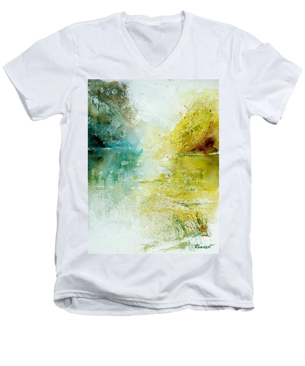 Pond Nature Landscape Men's V-Neck T-Shirt featuring the painting Watercolor 24465 by Pol Ledent