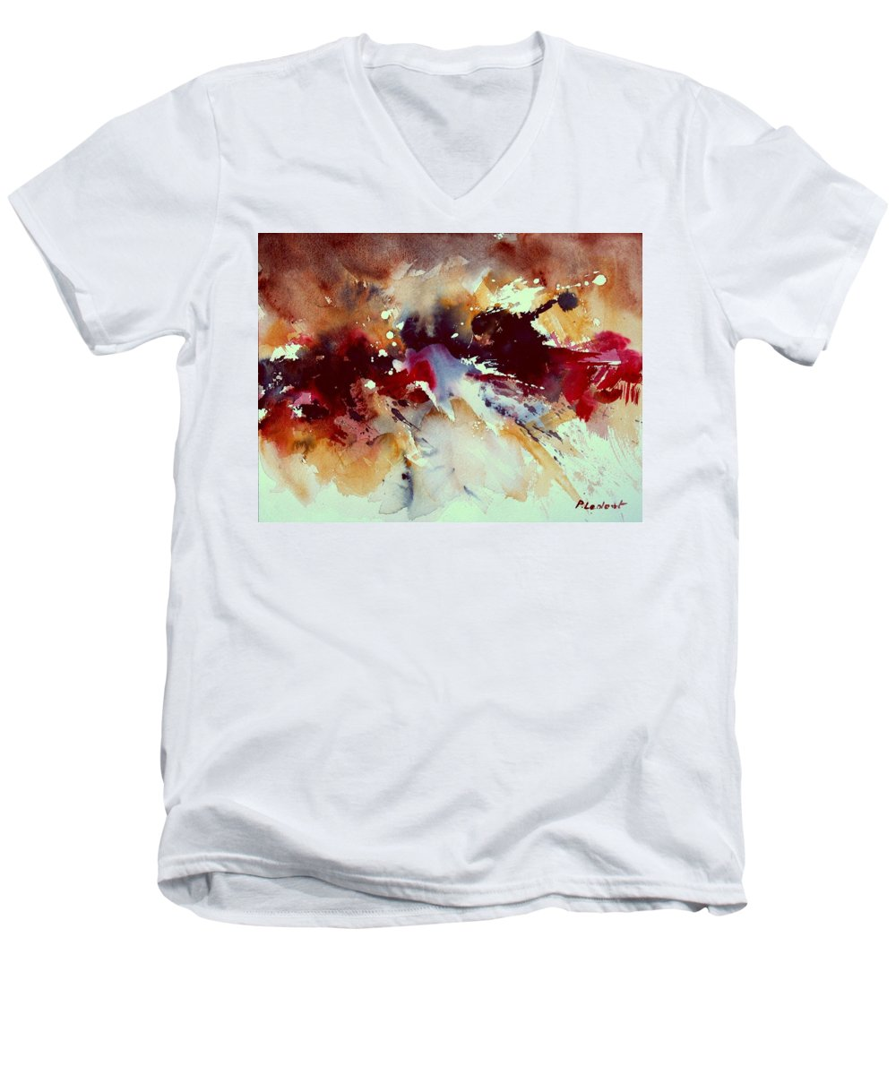 Abstract Men's V-Neck T-Shirt featuring the painting Watercolor 301107 by Pol Ledent