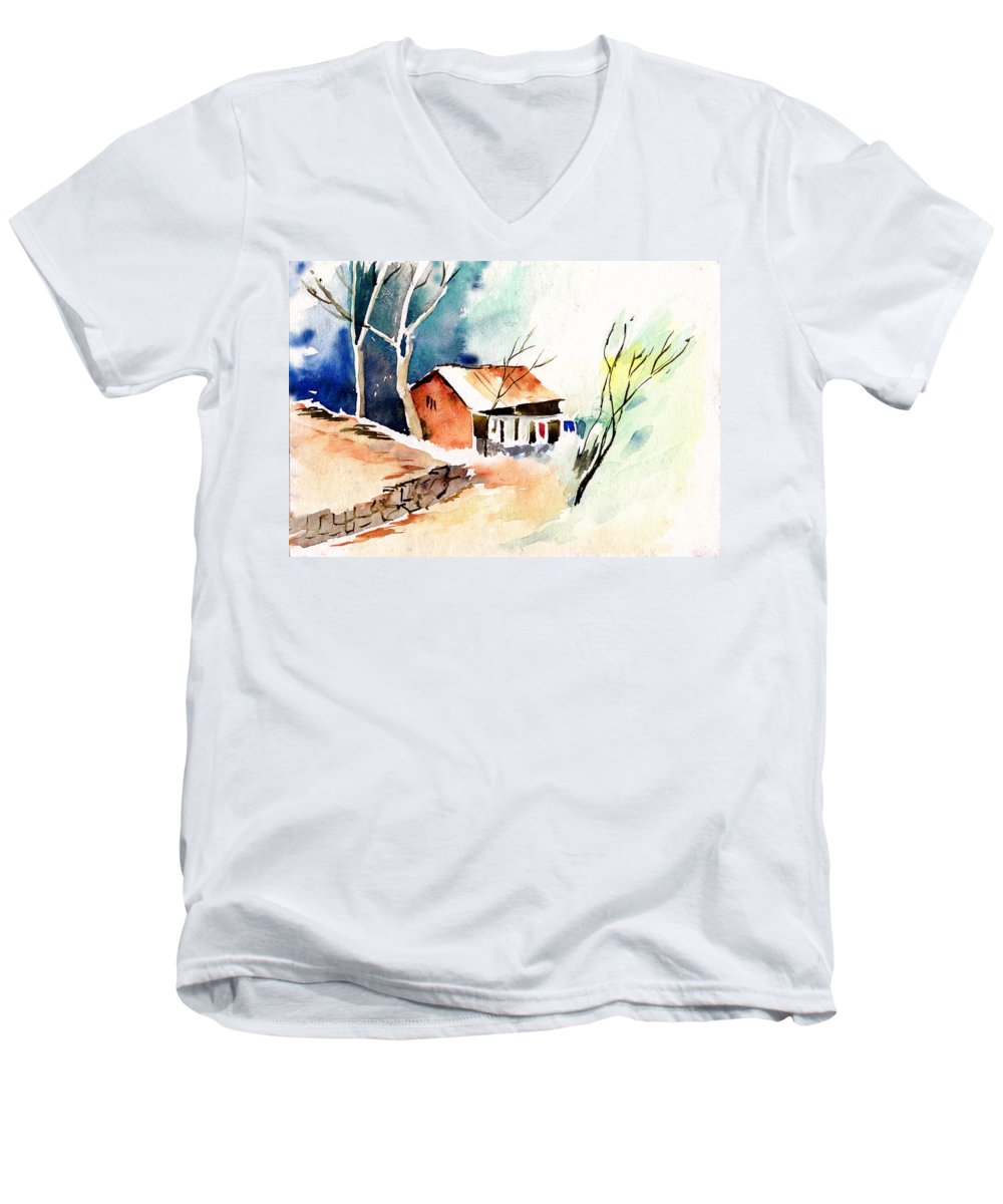 Nature Men's V-Neck T-Shirt featuring the painting Weekend House by Anil Nene