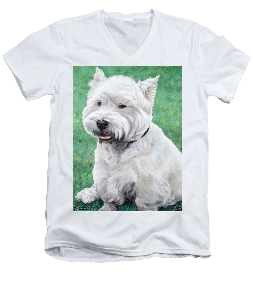 Dog Men's V-Neck T-Shirt featuring the painting West Highland Terrier by Nicole Zeug