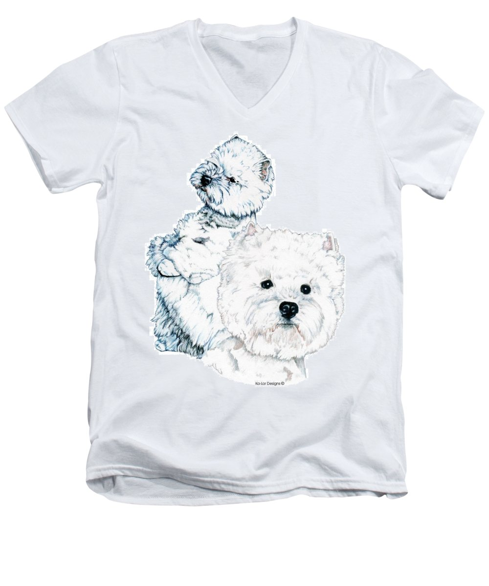 West Highland White Terrier Men's V-Neck T-Shirt featuring the drawing West Highland White Terriers by Kathleen Sepulveda