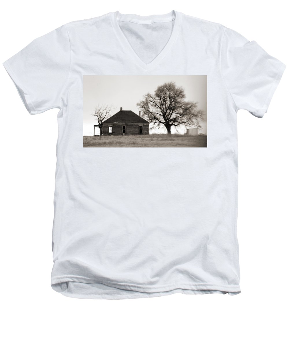 Texas Men's V-Neck T-Shirt featuring the photograph West Texas Winter by Marilyn Hunt