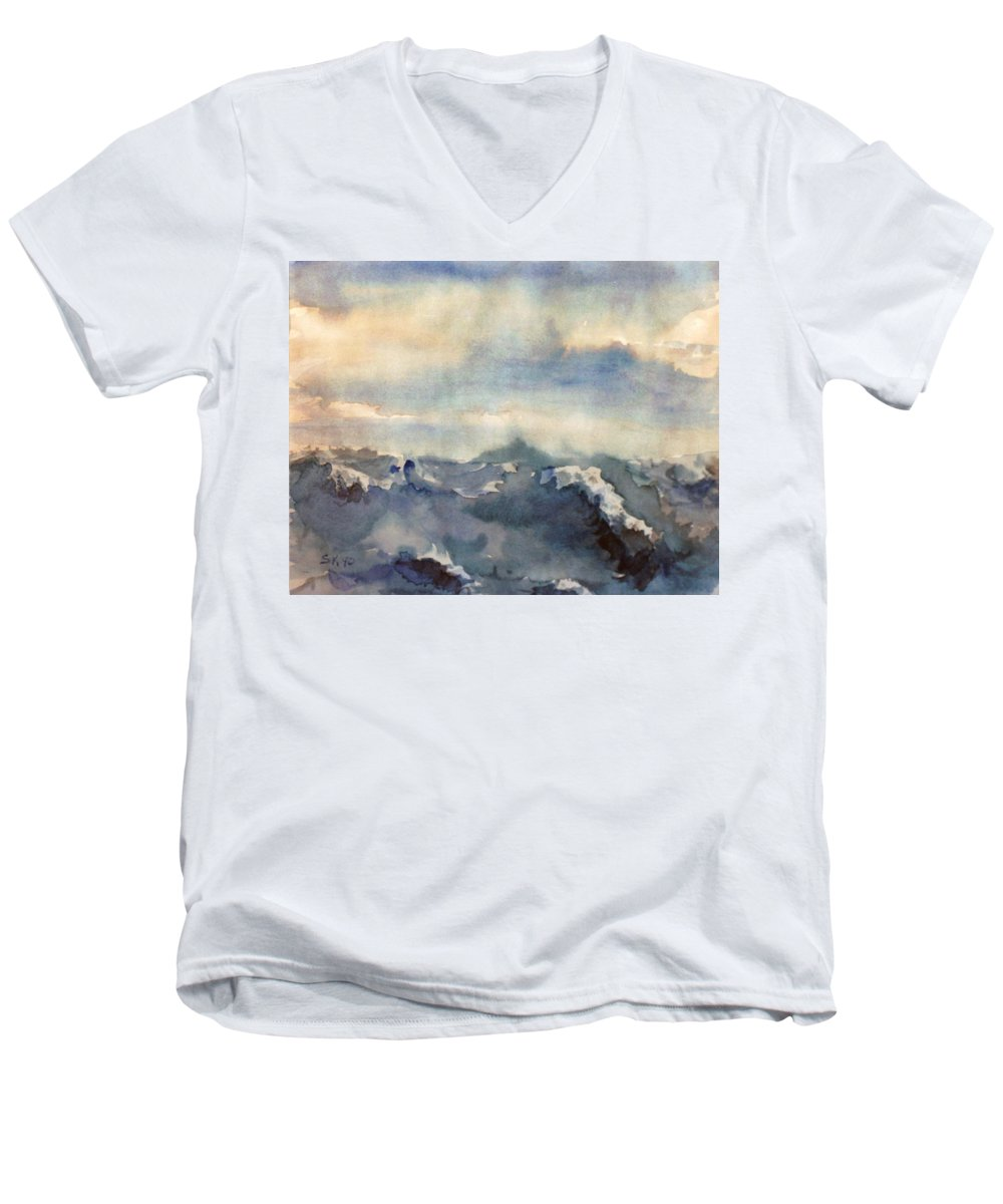 Seascape Men's V-Neck T-Shirt featuring the painting Where Sky Meets Ocean by Steve Karol