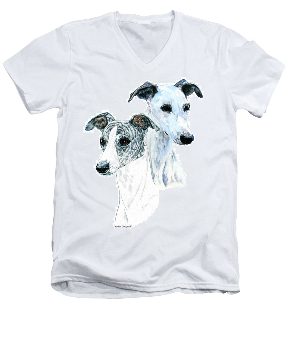 Whippet Men's V-Neck T-Shirt featuring the painting Whippet Pair by Kathleen Sepulveda