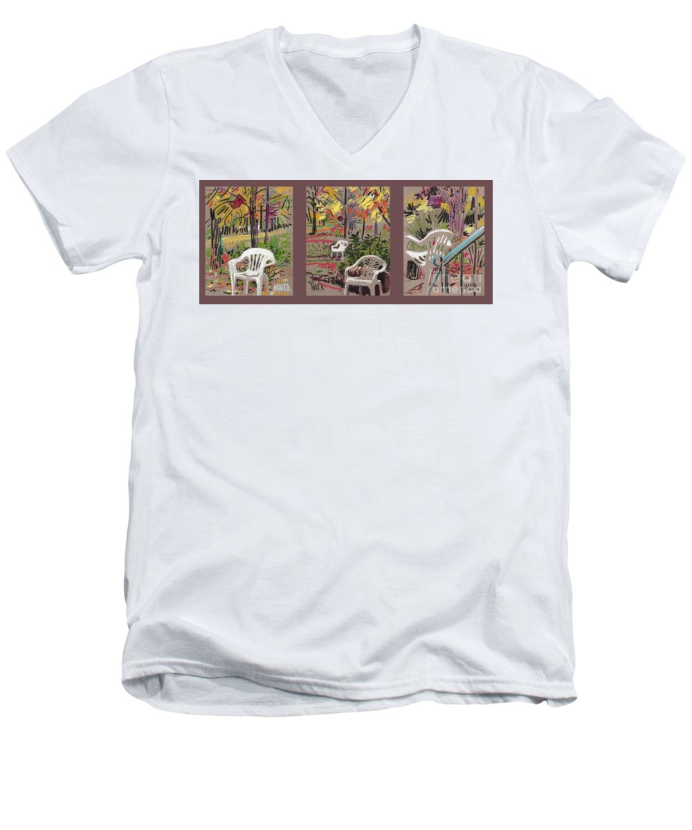 Pastel Men's V-Neck T-Shirt featuring the drawing White Chairs And Birdhouses 1 by Donald Maier