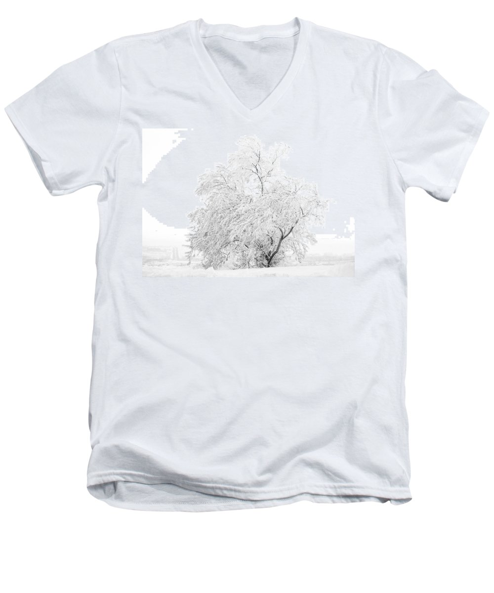 Snow Men's V-Neck T-Shirt featuring the photograph White On White by Marilyn Hunt
