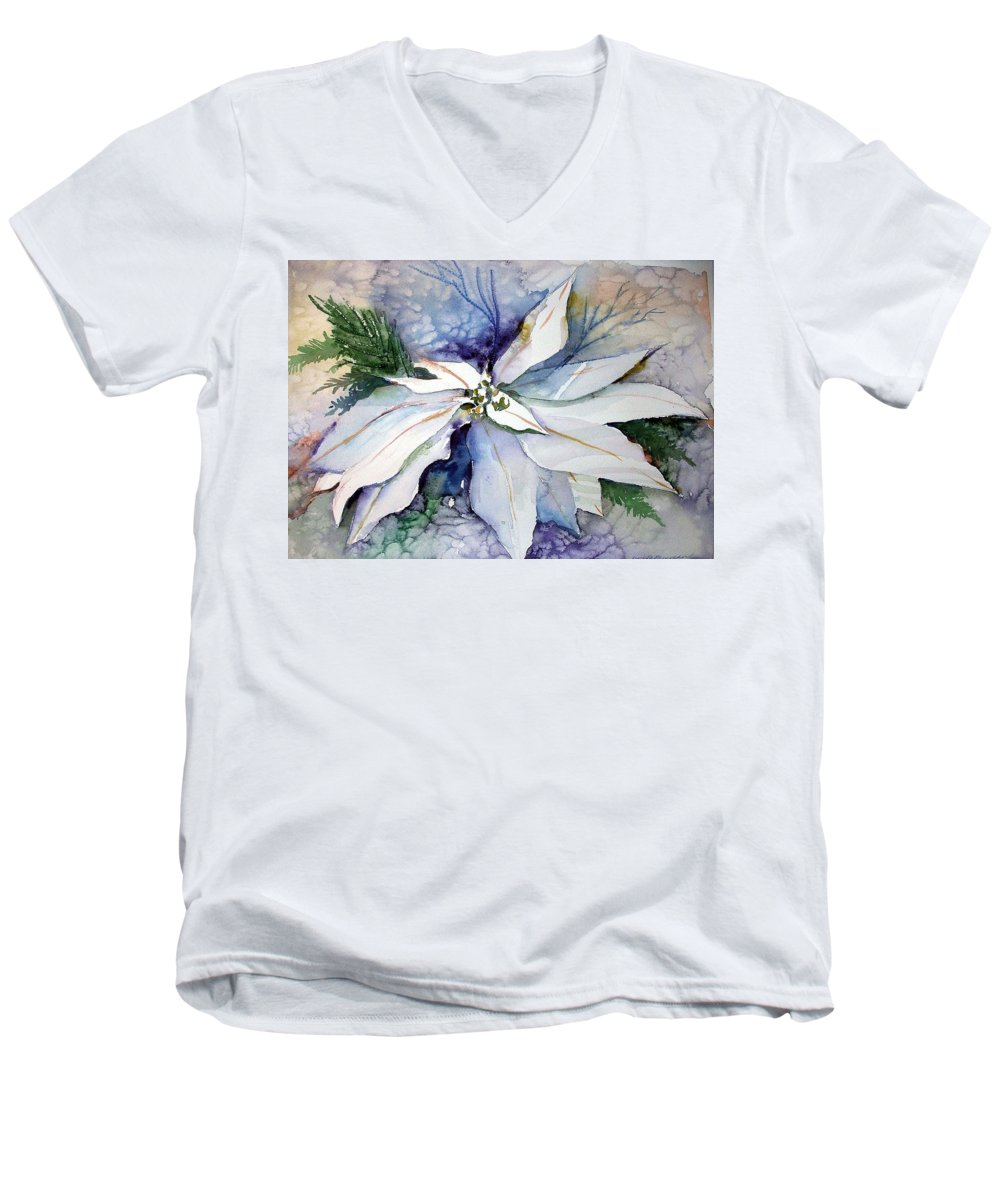 Floral Men's V-Neck T-Shirt featuring the painting White Poinsettia by Mindy Newman