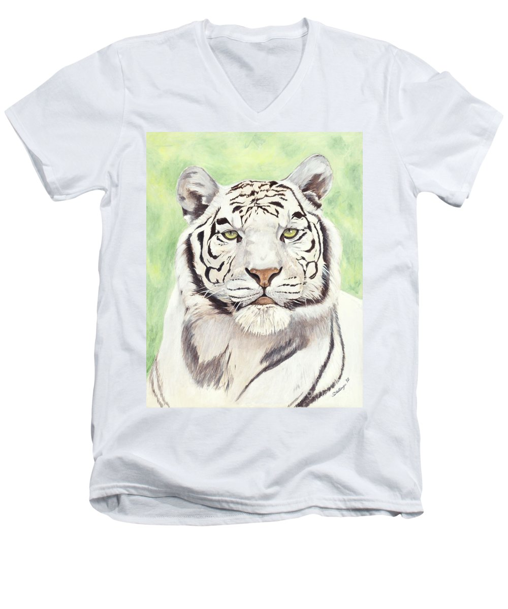 Tiger Men's V-Neck T-Shirt featuring the painting White Silence by Shawn Stallings