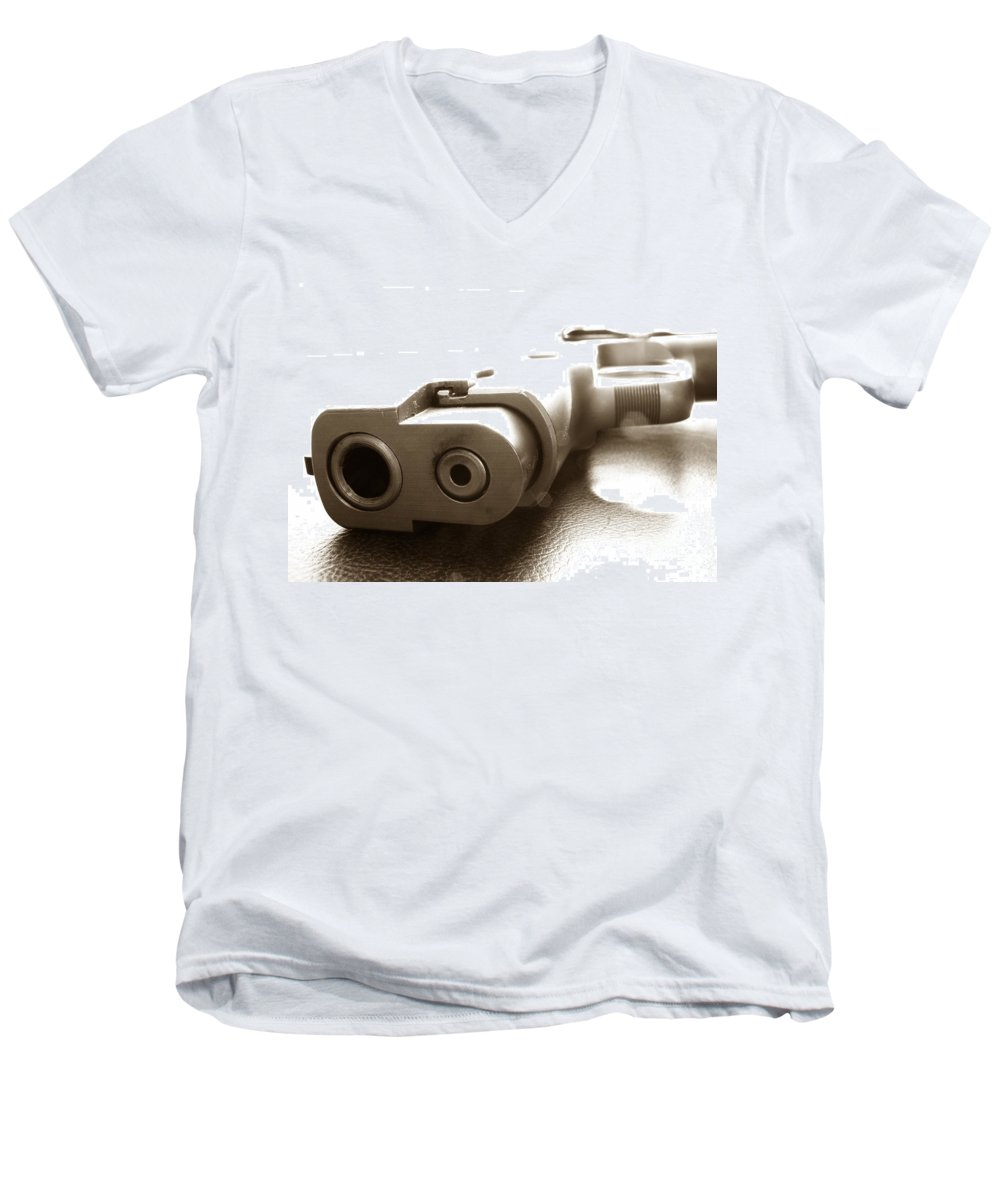 Gun Men's V-Neck T-Shirt featuring the photograph Why by Amanda Barcon