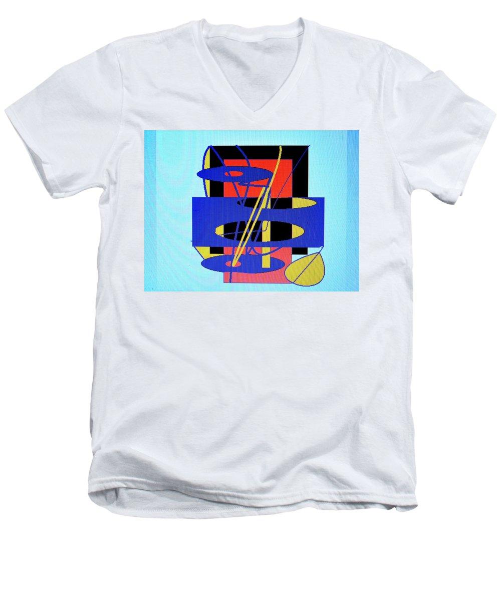 Abstract Men's V-Neck T-Shirt featuring the digital art Widget World by Ian MacDonald