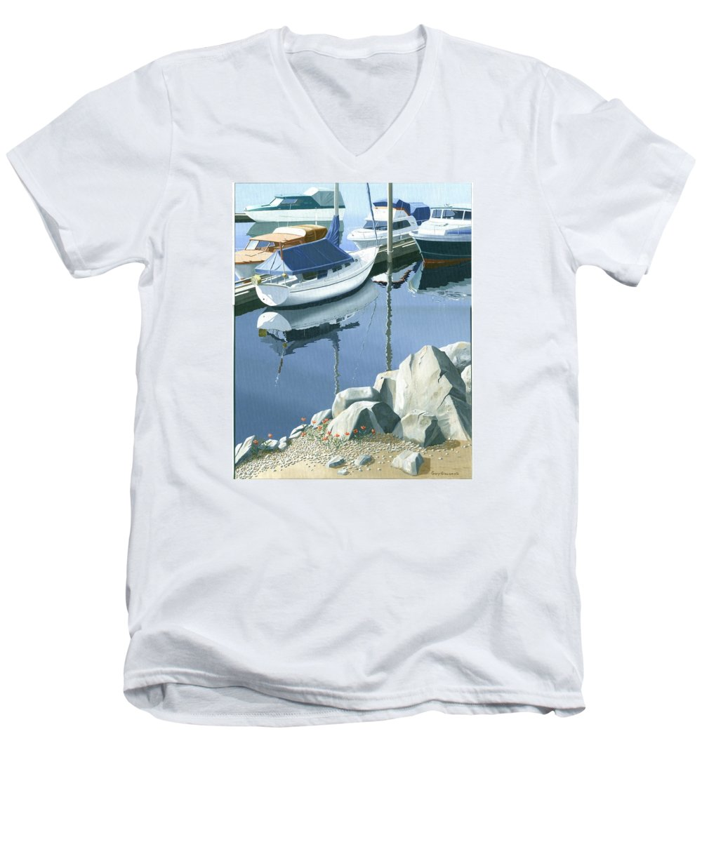 Sailboat Men's V-Neck T-Shirt featuring the painting Wildflowers On The Breakwater by Gary Giacomelli