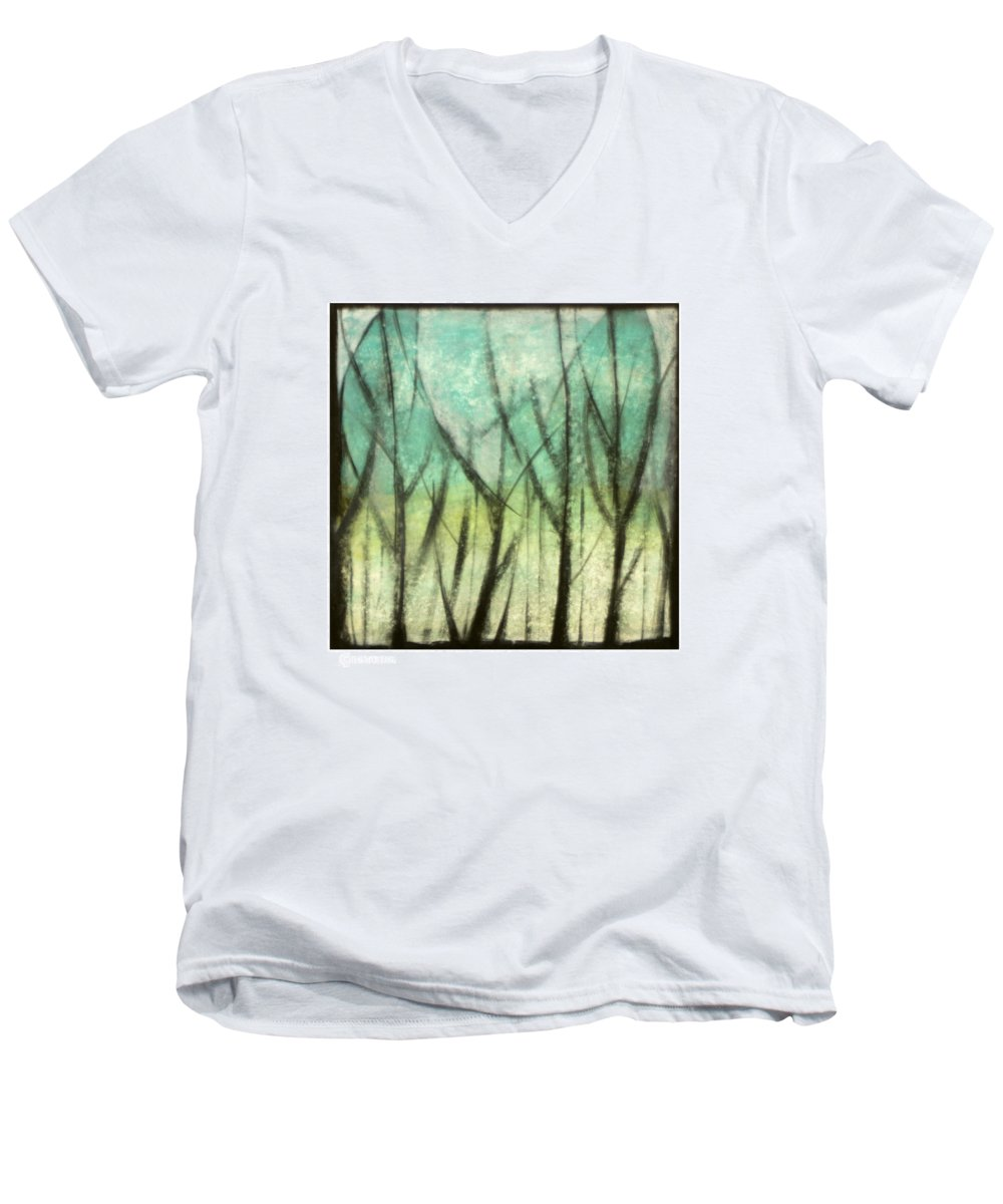 Trees Men's V-Neck T-Shirt featuring the painting Winter Into Spring by Tim Nyberg