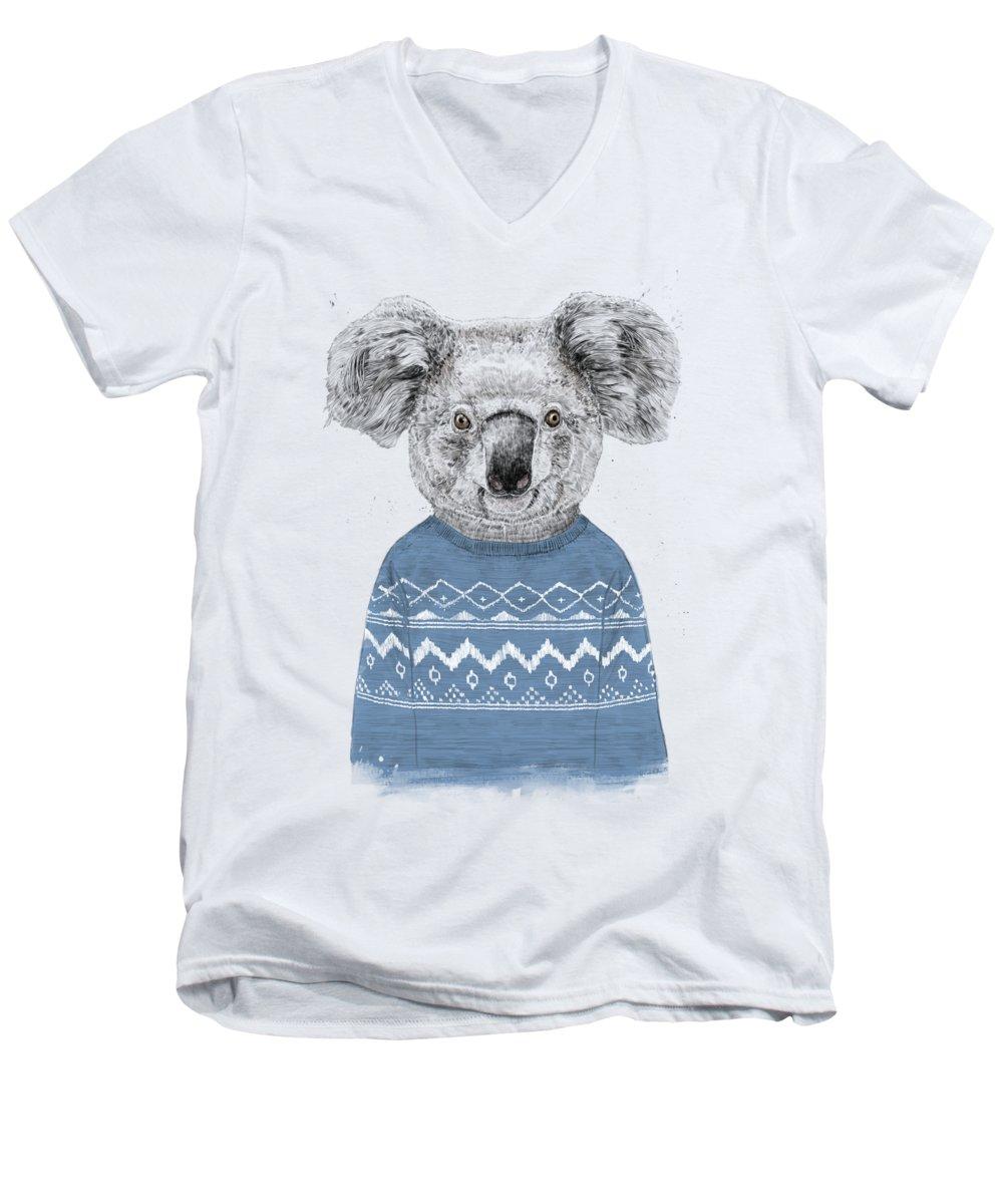 Koala Men's V-Neck T-Shirt featuring the drawing Winter Koala by Balazs Solti