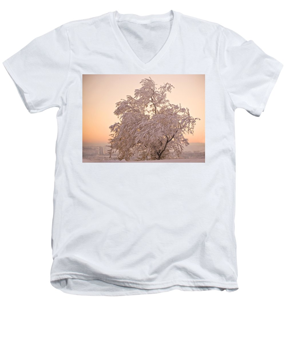 Winter Men's V-Neck T-Shirt featuring the photograph Winter Sunset by Marilyn Hunt