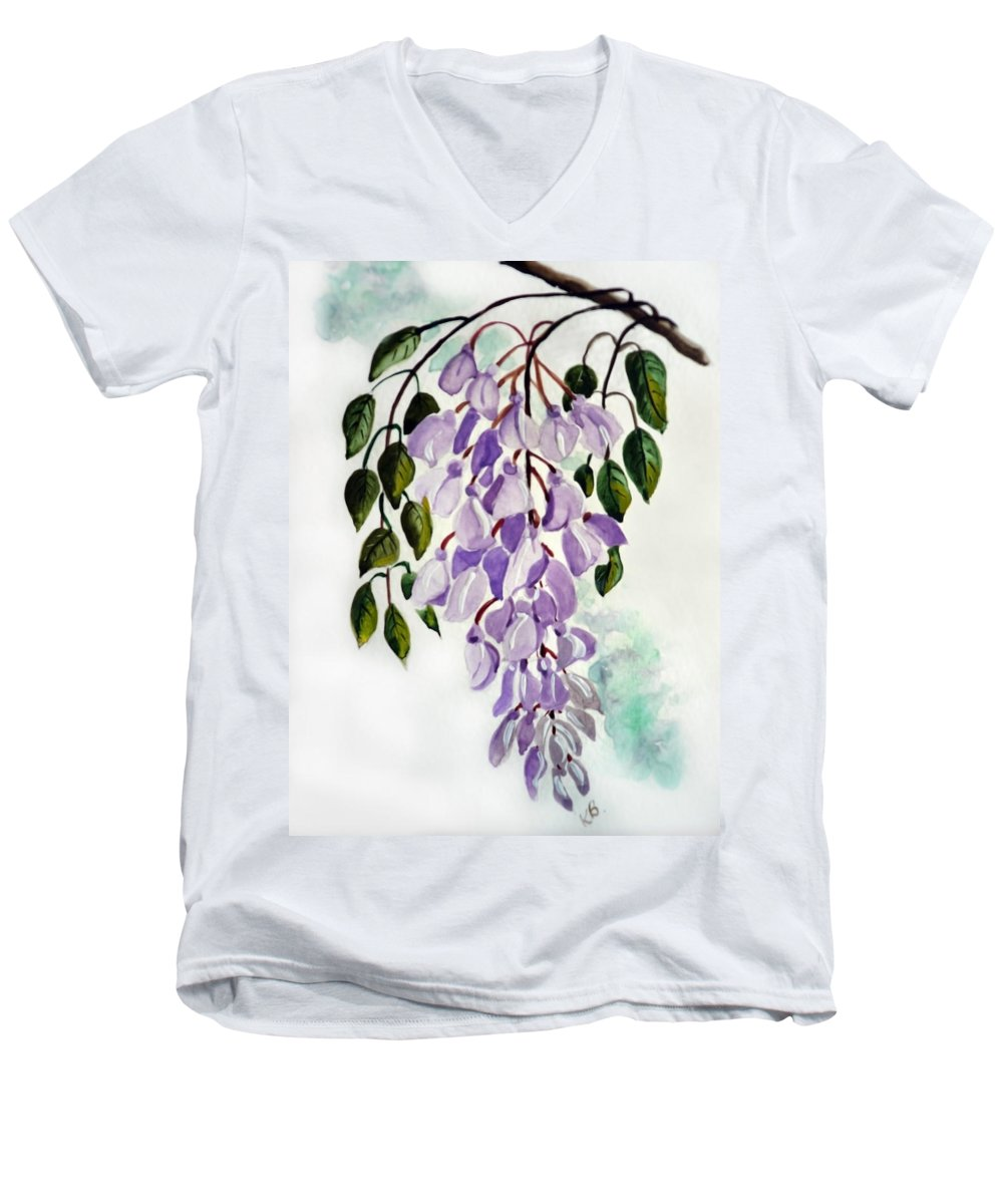 Floral Paintings Flower Paintings Wisteria Paintings Botanical Paintings Flower Purple Paintings Greeting Card Paintings  Men's V-Neck T-Shirt featuring the painting Wisteria by Karin Dawn Kelshall- Best
