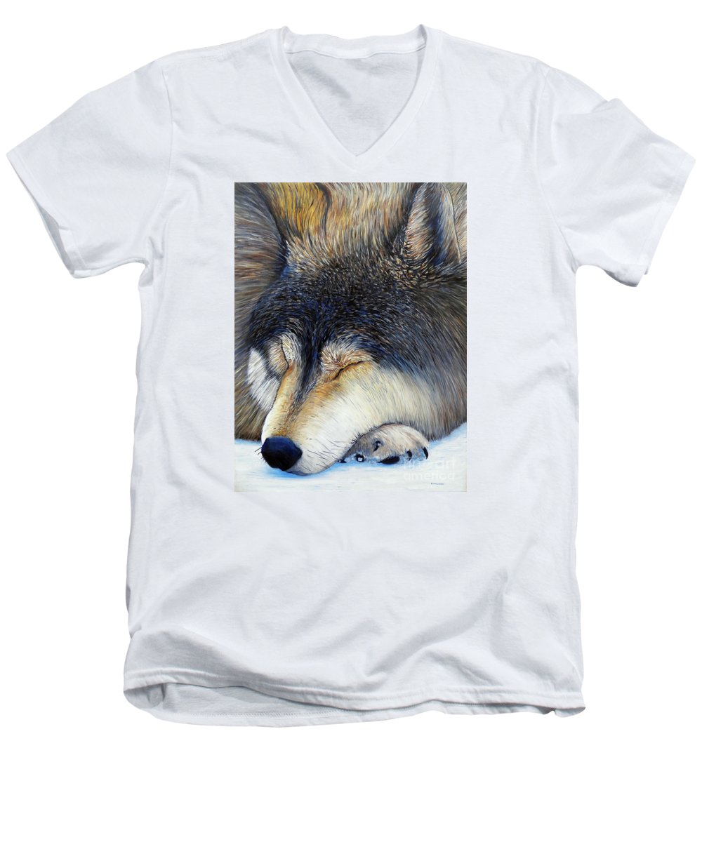 Wolf Men's V-Neck T-Shirt featuring the painting Wolf Dreams by Brian Commerford