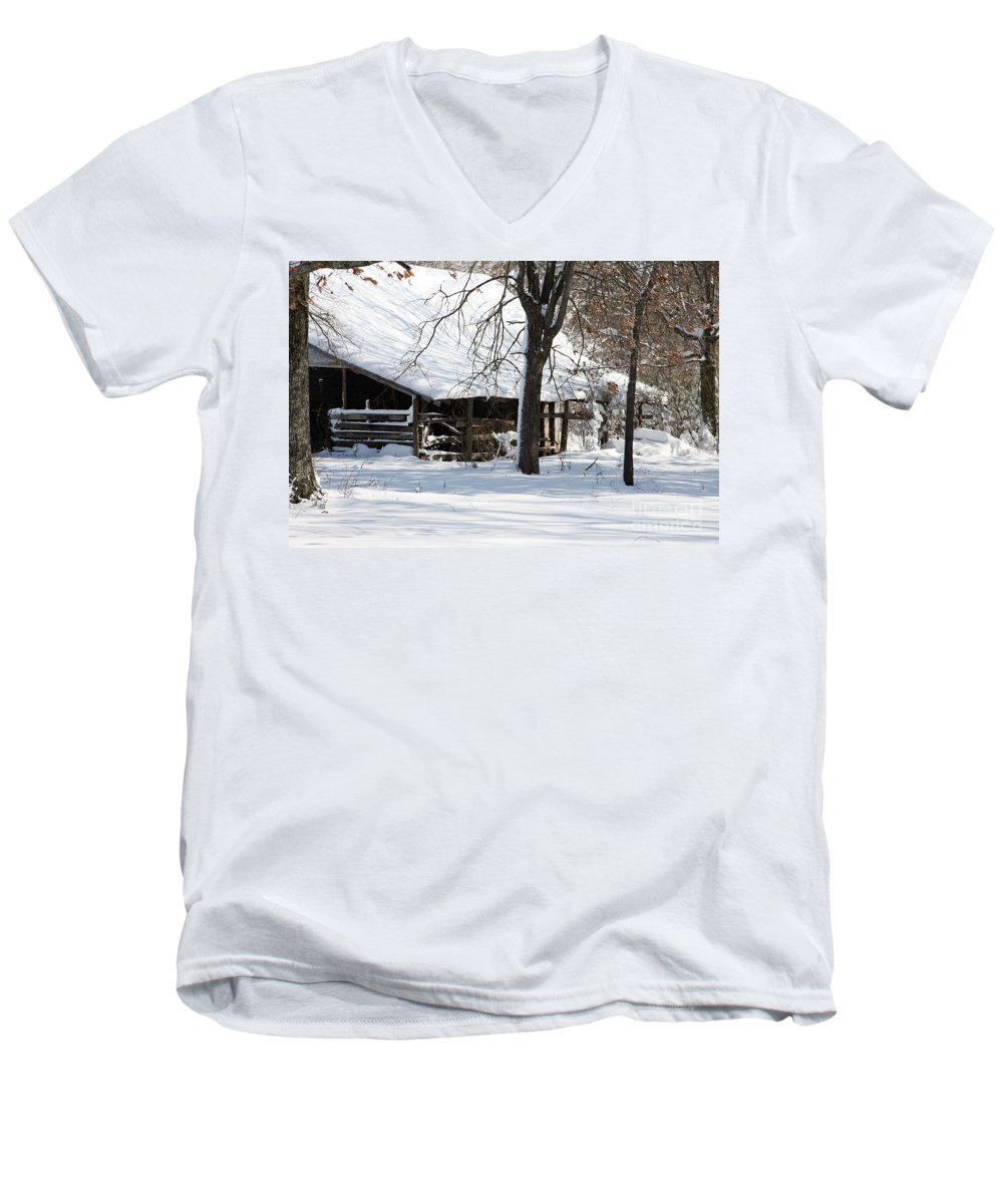 Rural Men's V-Neck T-Shirt featuring the photograph Wrapped In Silence by Amanda Barcon