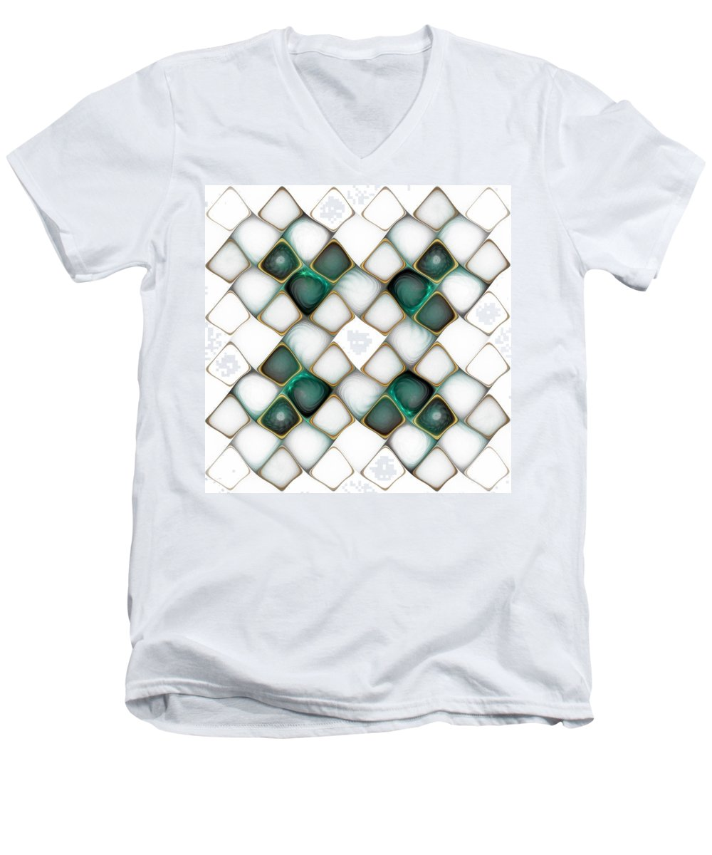 Digital Art Men's V-Neck T-Shirt featuring the digital art X Marks The Spot by Amanda Moore