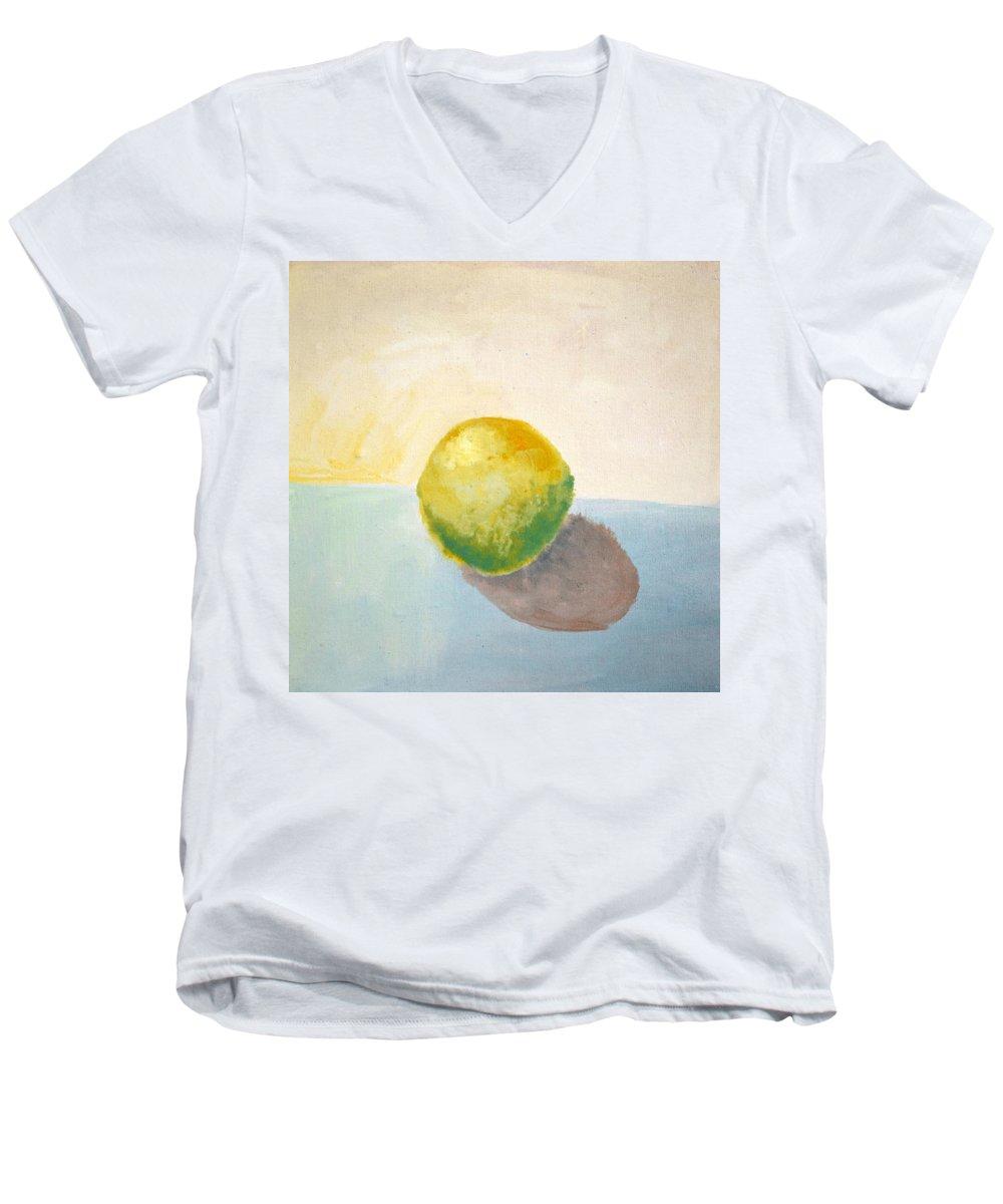 Lemon Men's V-Neck T-Shirt featuring the painting Yellow Lemon Still Life by Michelle Calkins