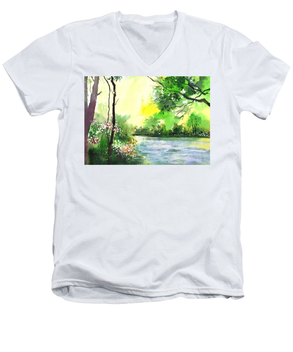 Sky Men's V-Neck T-Shirt featuring the painting Yellow Sky by Anil Nene
