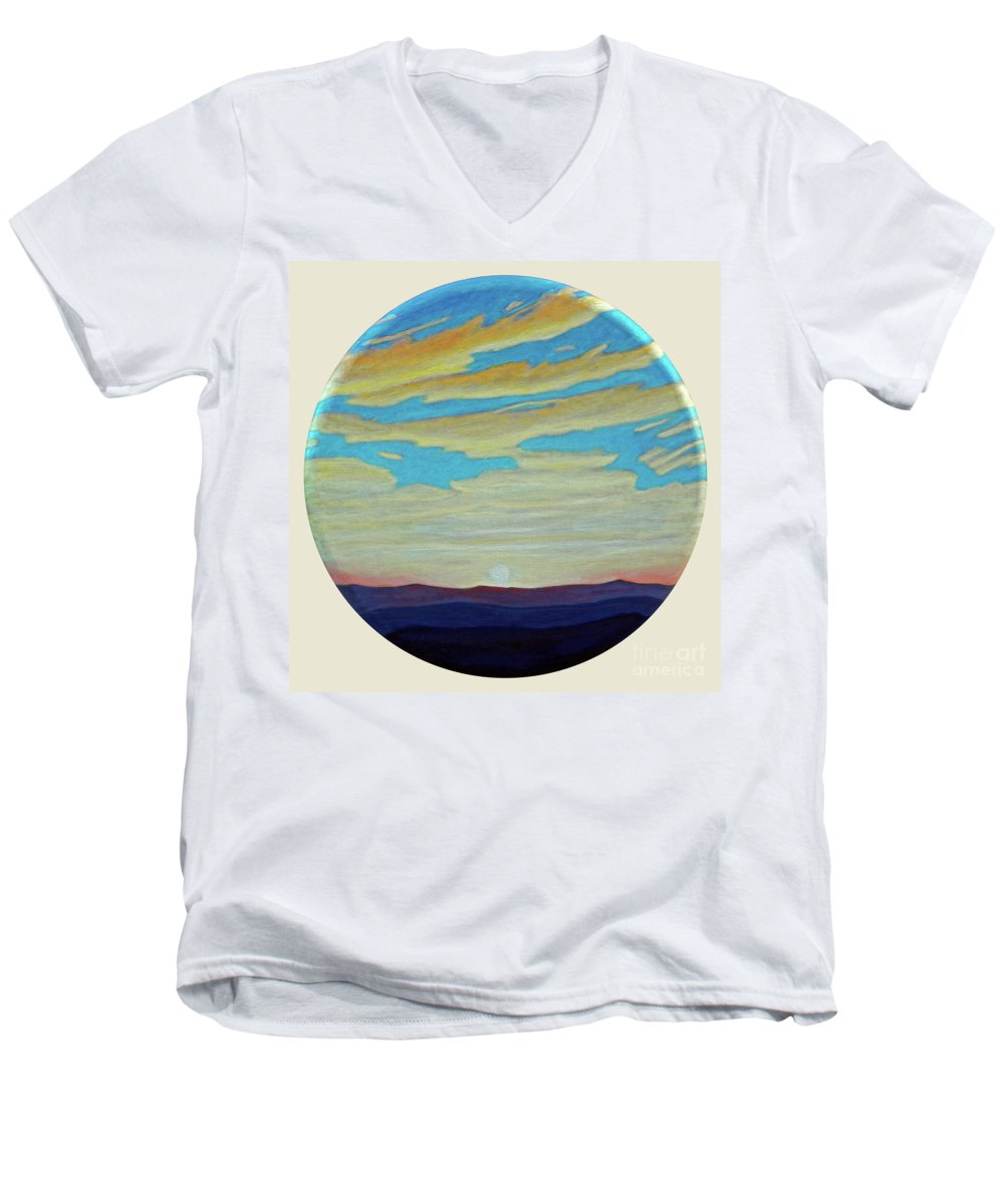 Landscape Men's V-Neck T-Shirt featuring the painting Yesterday by Brian Commerford