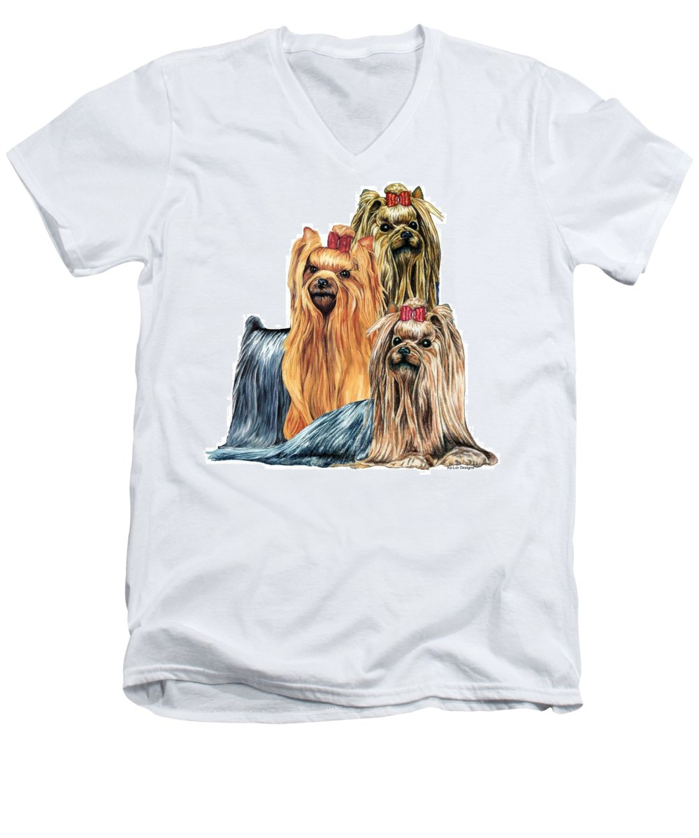 Yorkshire Terrier Men's V-Neck T-Shirt featuring the drawing Yorkshire Terriers by Kathleen Sepulveda