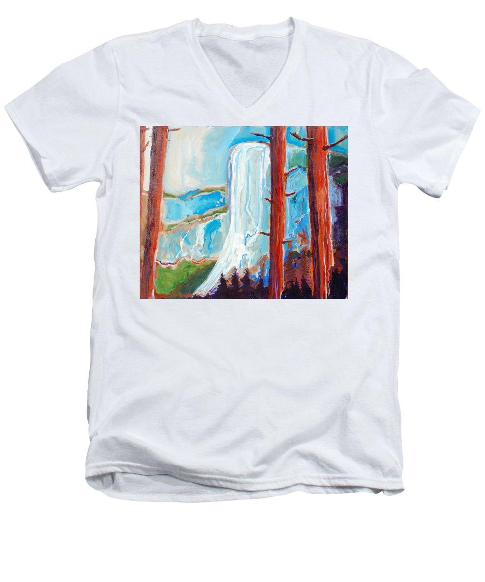 Men's V-Neck T-Shirt featuring the painting Yosemite by Kurt Hausmann