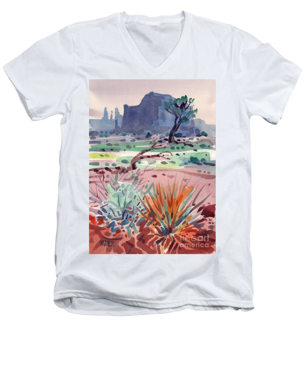 Monument Valley Men's V-Neck T-Shirt featuring the painting Yucca And Buttes by Donald Maier