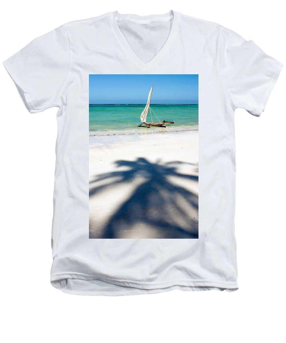 3scape Men's V-Neck T-Shirt featuring the photograph Zanzibar Beach by Adam Romanowicz