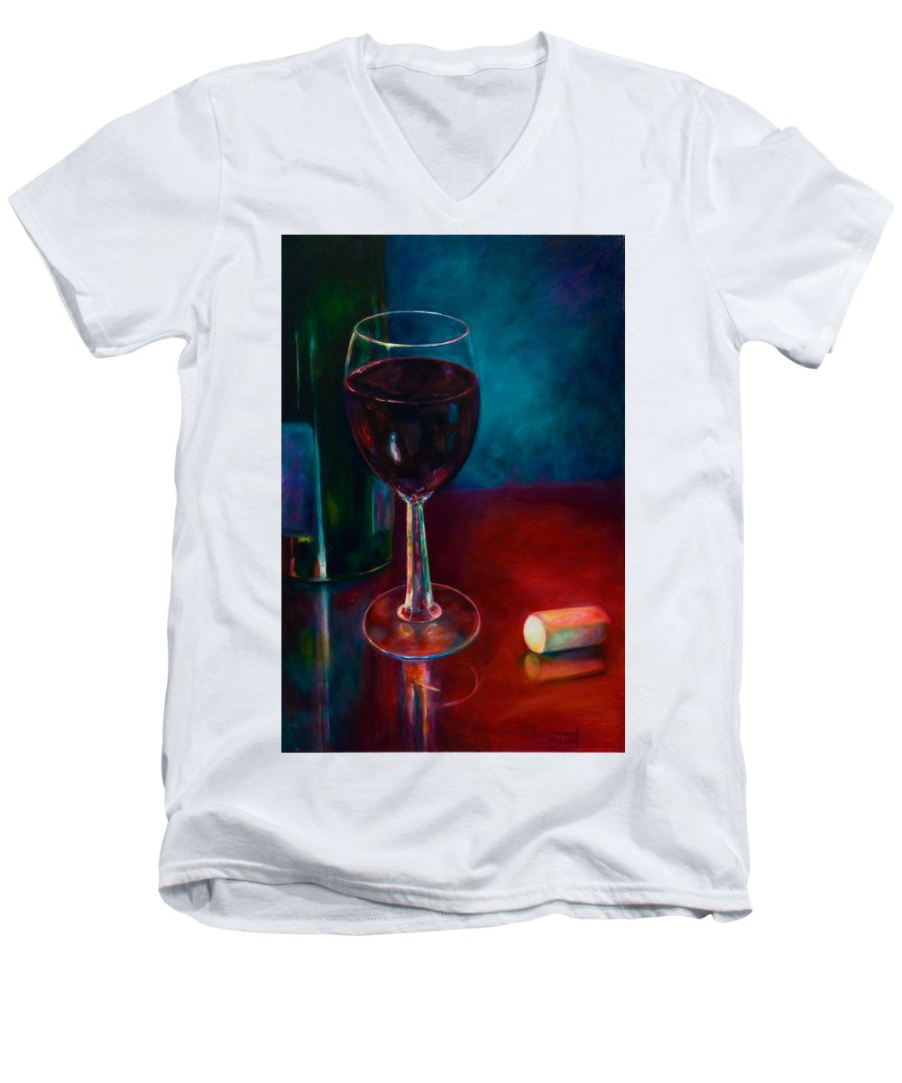 Wine Bottle Men's V-Neck T-Shirt featuring the painting Zinfandel by Shannon Grissom