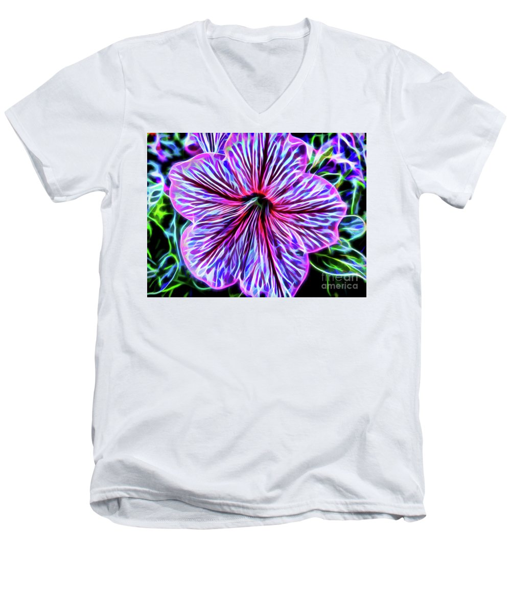 Petunia Men's V-Neck T-Shirt featuring the photograph Electric Petunia by D Hackett