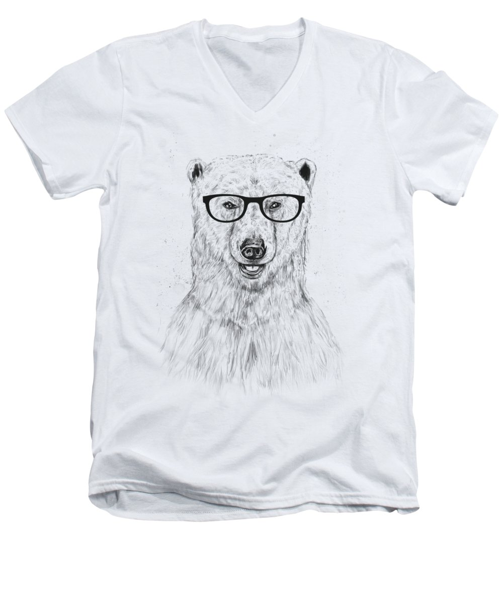 Bear Men's V-Neck T-Shirt featuring the drawing Geek Bear by Balazs Solti