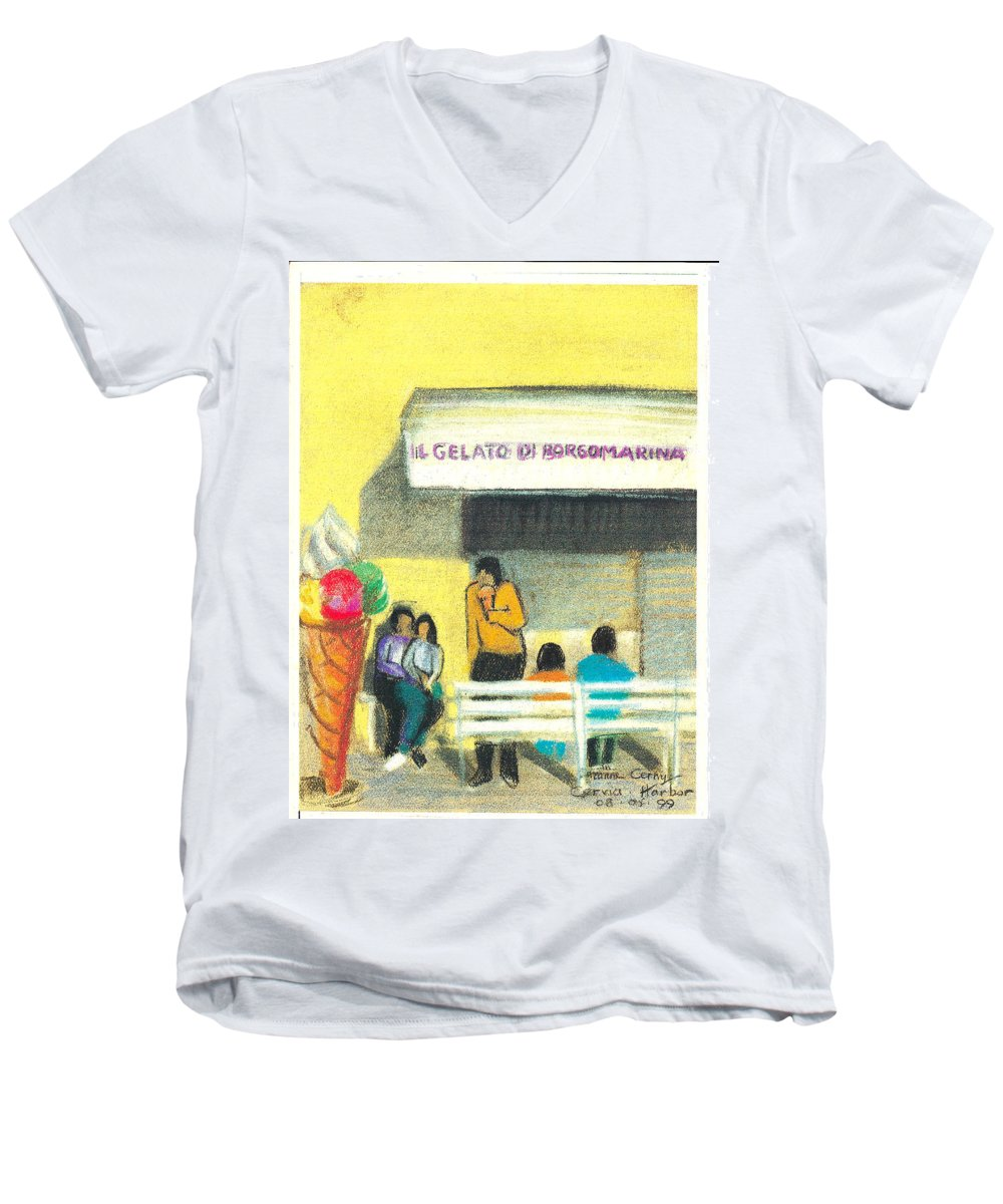 Yellow Men's V-Neck T-Shirt featuring the painting Il Gelato De Borgo Marina by Suzanne Cerny