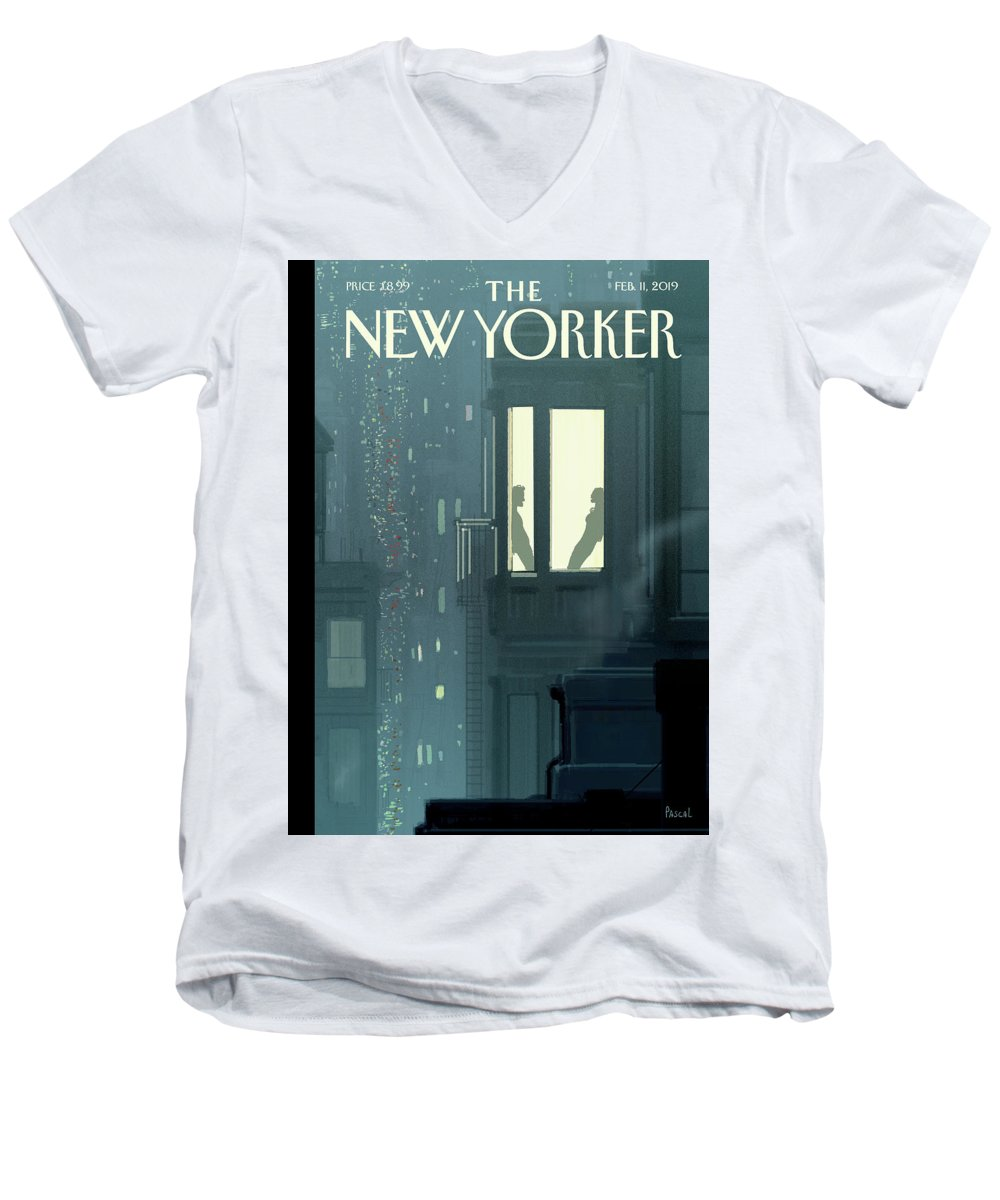 Love Interest Men's V-Neck T-Shirt featuring the painting Love Interest by Pascal Campion